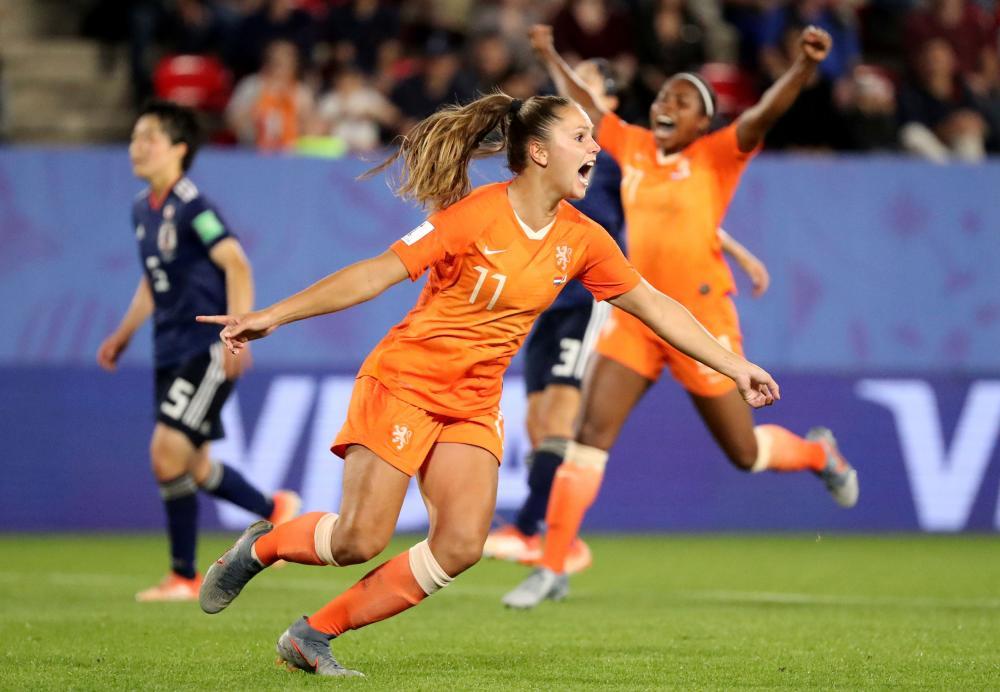Netherlands' Lieke Martens celebrates scoring their second goal.