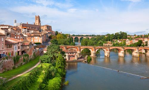 View of the August bridge and The Saint Cecile church in Albi, France