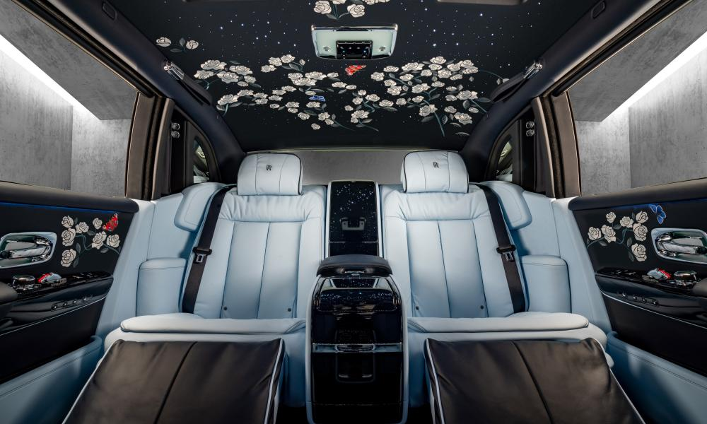 interior shot of the million-stitch Rolls-Royce Phantom.