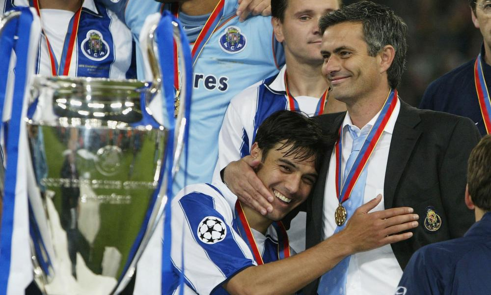 Nuno Valente, left, and José Mourinho, right, celebrate winning the Champions League with Porto.