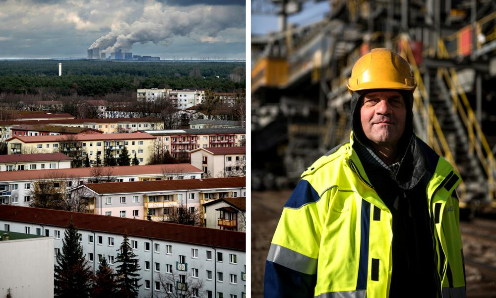 Left: the Boxberg lignite power plant dominates the skyline from the city of Hoyerswerda in eastern Germany. Right: Coal miner Georg Ortmann at Reichwalde mine, which supplies Boxberg with lignite