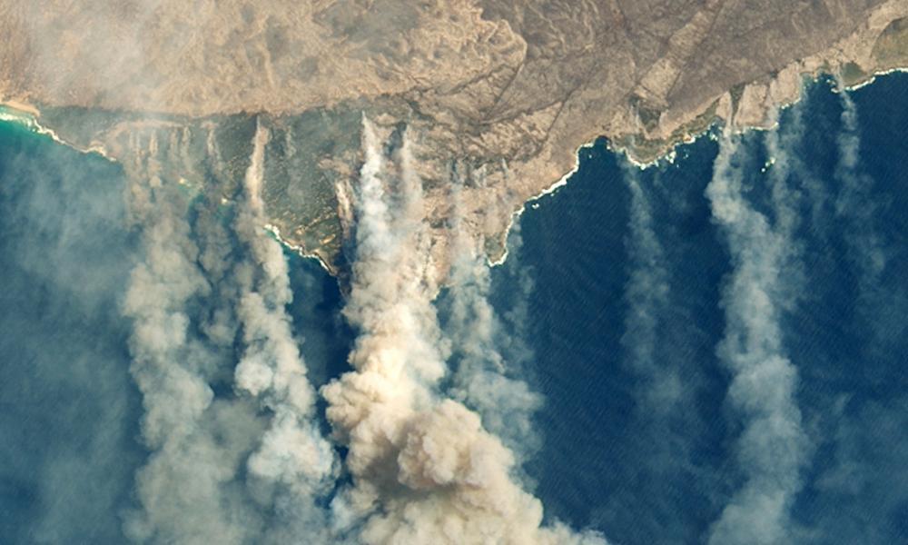 A Nasa satellite image showing burned land and thick smoke over Kangaroo Island, January 20202