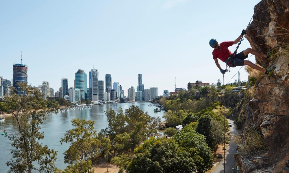 Abseiling the Kangaroo Point cliffs.