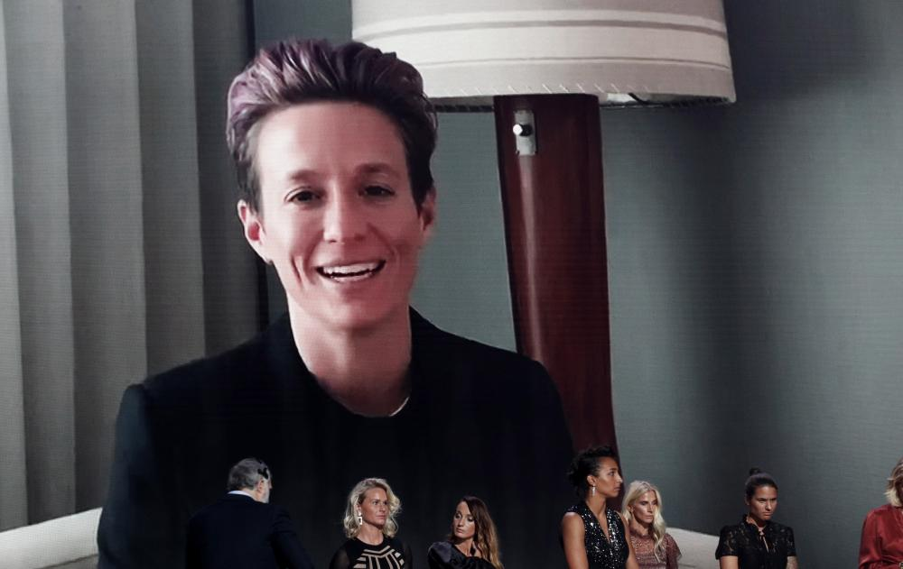 Megan Rapinoe talks on a video link after being announced as the winner of the Ballon d'Or Féminin.