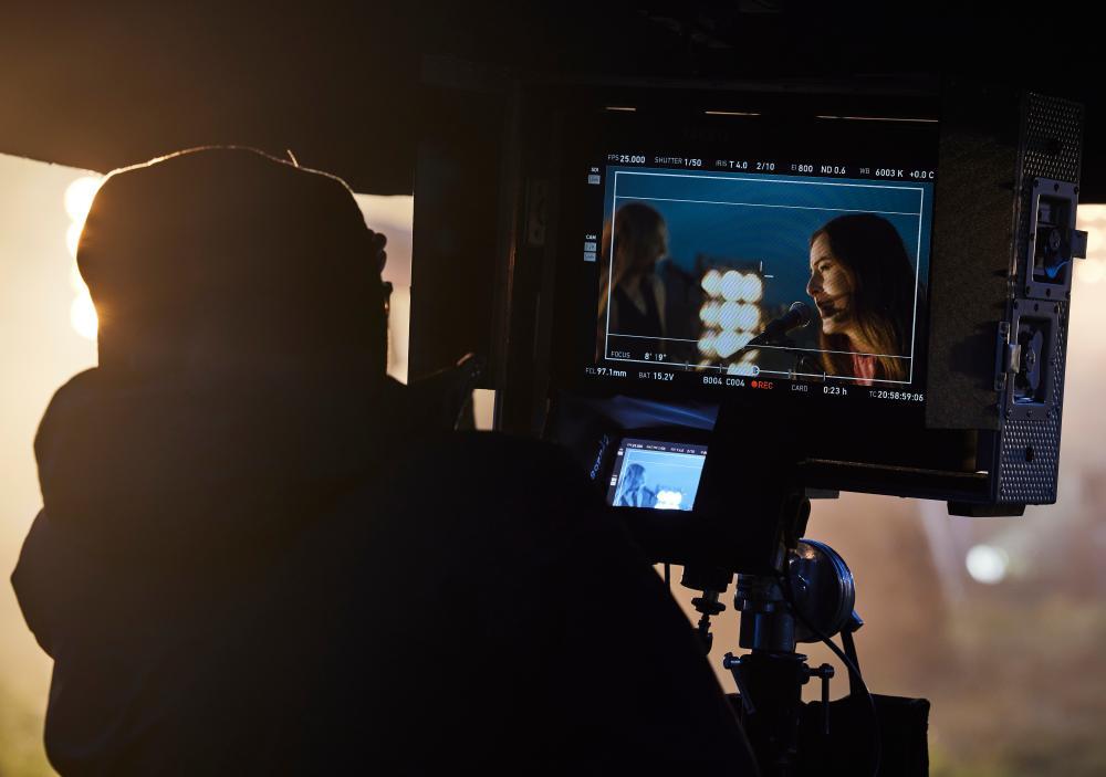 Alana Haim on the film crew's monitors.