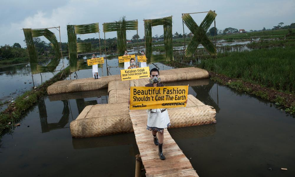 Greenpeace stages its 'detox catwalk' in Bandung, West Java, in 2016.