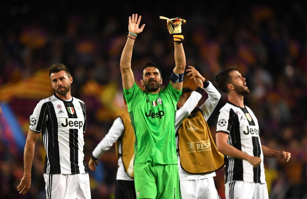 Gianluigi Buffon of Juventus shows appreciation to the fans.
