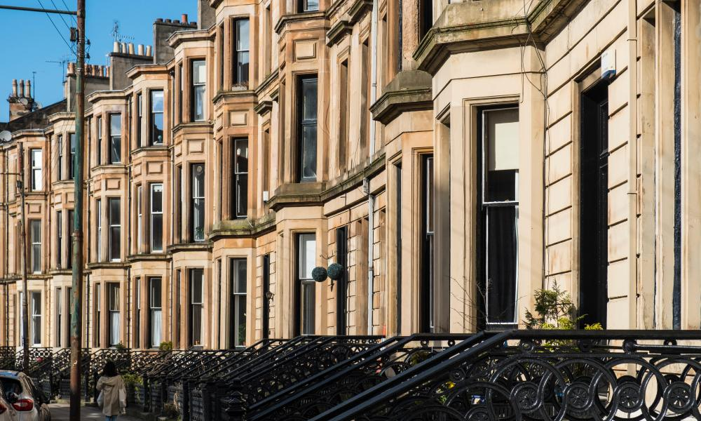 A row of tenement apartment buildings in Glasgow