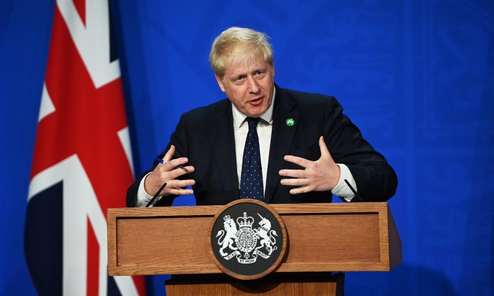 Boris Johnson speaks at a press conference after announcing the new social care levy, Downing Street, 7 September 2021.