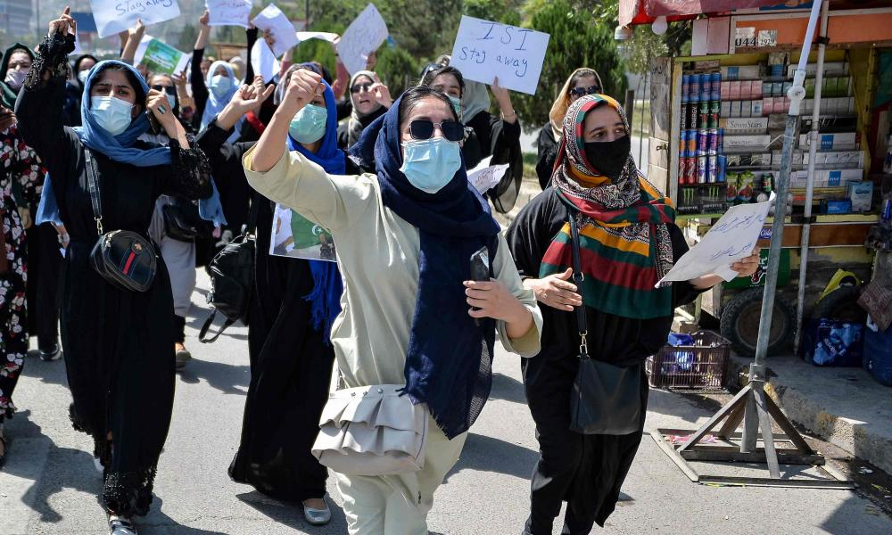 Afghan women during an anti-Pakistan protest rally, near the Pakistan embassy in Kabul