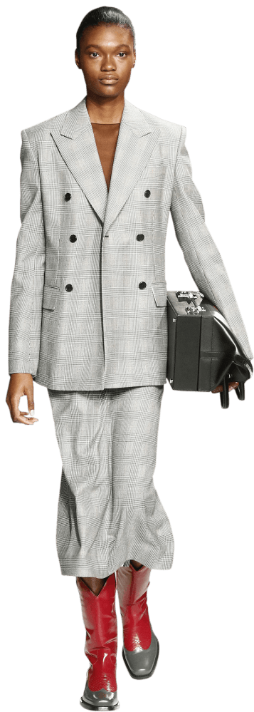 Model wearing Calvin Klein checked suit