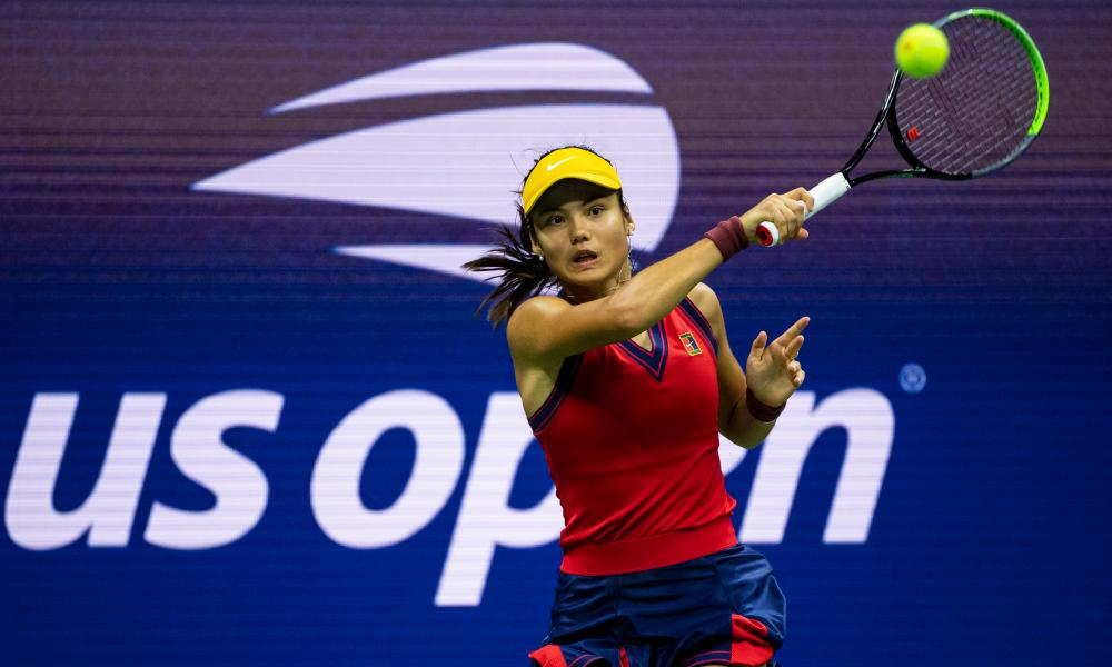 Emma Raducanu hits one of her powerful forehands against Maria Sakkari in the semi-final