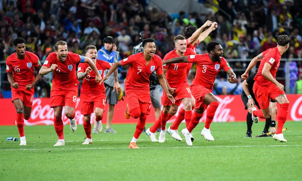 Penalty curse lifted: England players celebrate after their shootout victory against Uruguay.