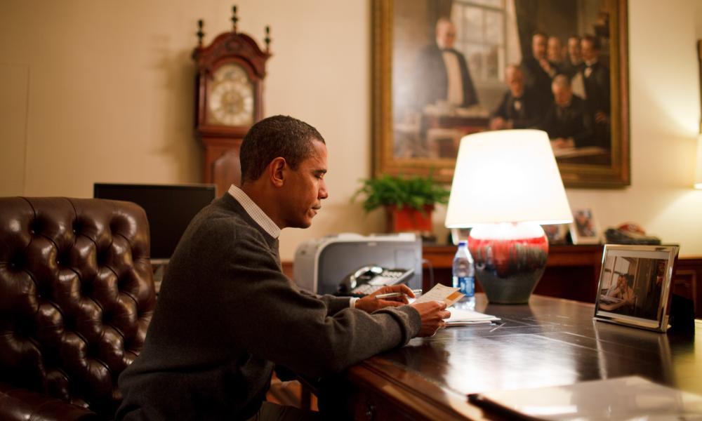 President Barack Obama reads one of 10 letters from the public Barack Obama's First 100 Days in Office