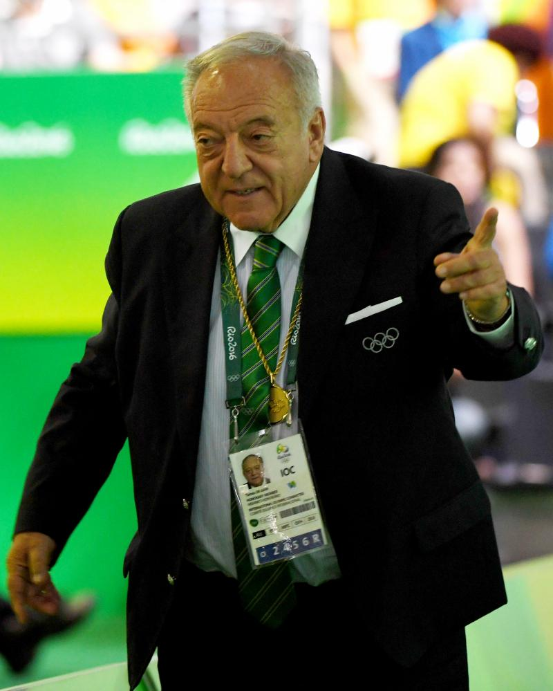 The International Weightlifting Federation president, Tamas Ajan, at the Rio 2016 Olympic Games.
