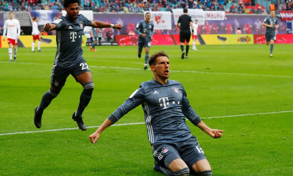 Leon Goretzka celebrating his disallowed goal.