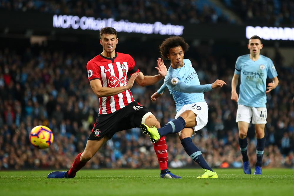 Leroy Sané scores his team's sixth goal for Manchester City against Southampton last November.