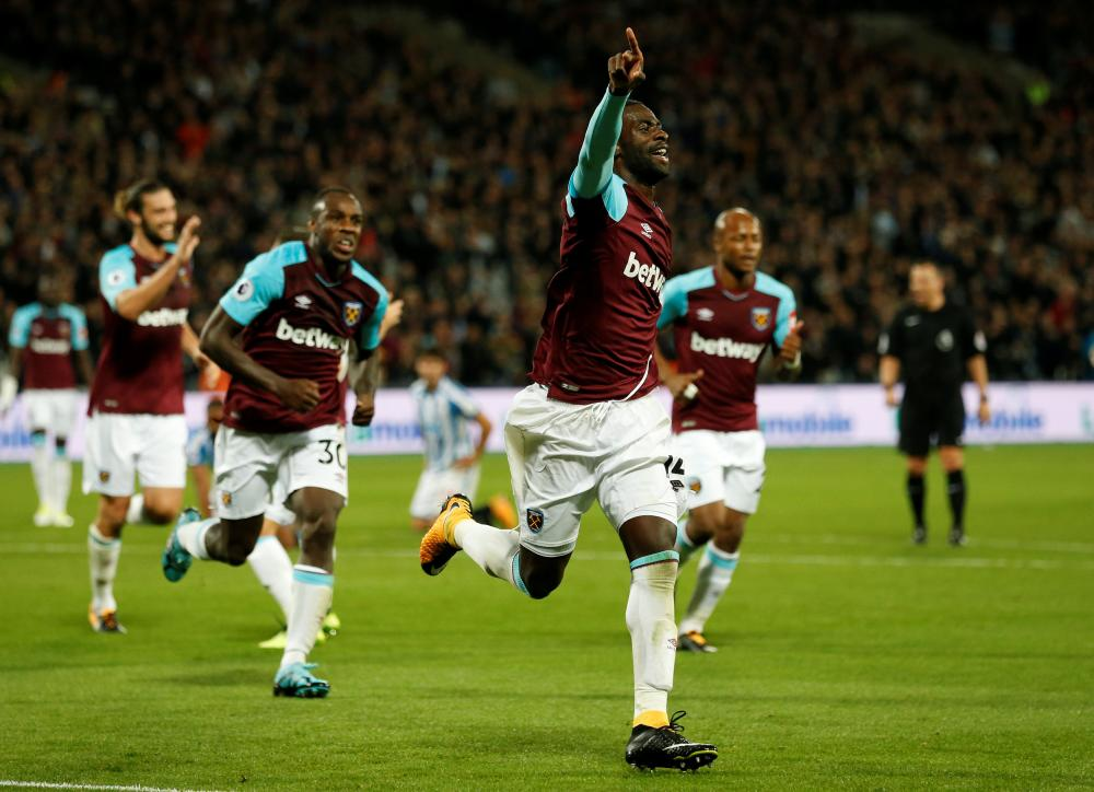 Obiang celebrates after breaking the deadlock.