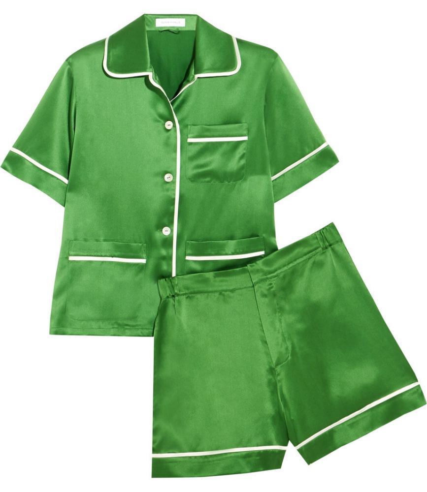 OLIVIA VON HALLE Millicent silk-satin pajama set