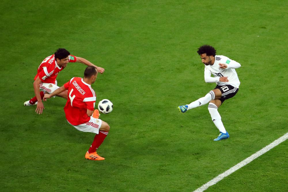 Egypt's Mohamed Salah shoots at goal.
