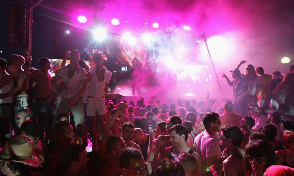 A crowd in a club in Ibiza.