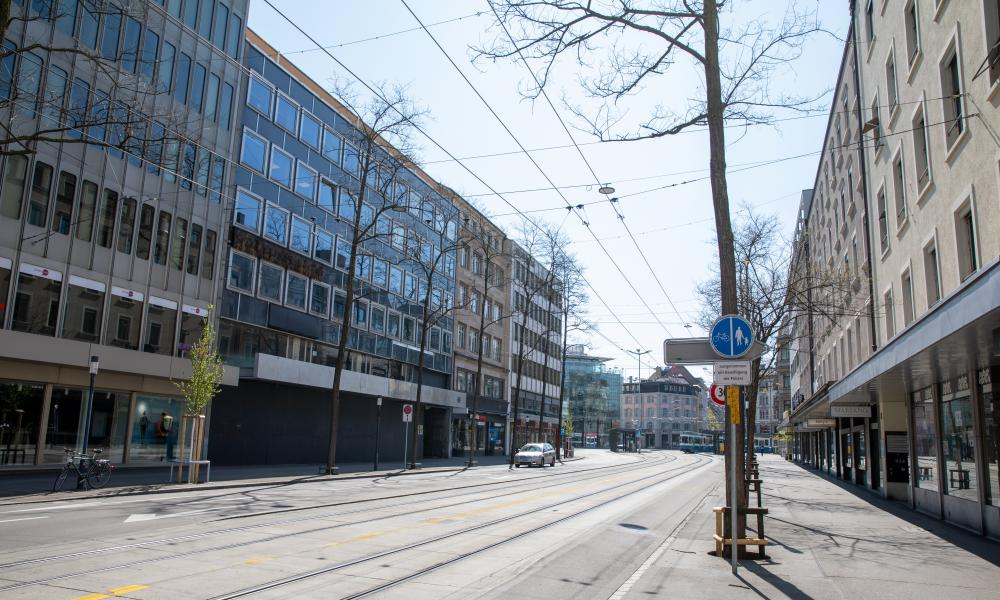 A view of empty Zurich city centre in Switzerland on April 7, 2020.
