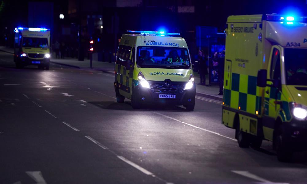A fleet of ambulances arriving at Manchester Arena