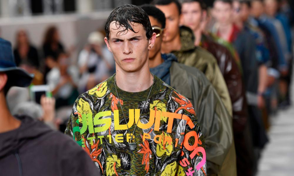 Surf-style T-shirts featured Lous Vuitton written in a neon rainbow font.