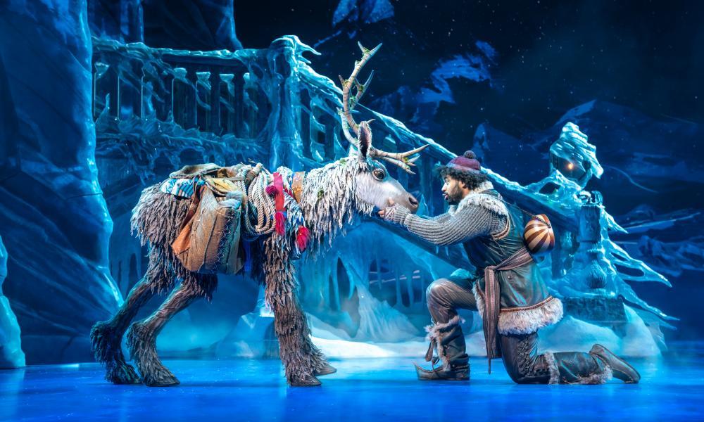 Obioma Ugoala as Kristoff with Sven in Frozen.