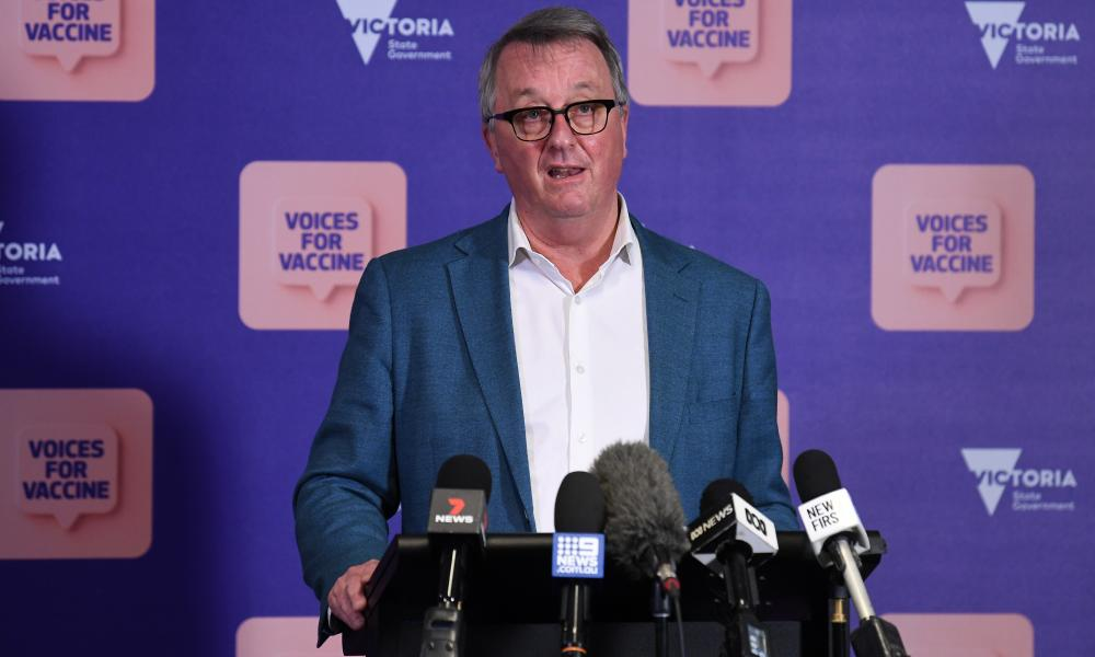 Health minister Martin Foley speaks to the media during today's Covid press conference in Melbourne
