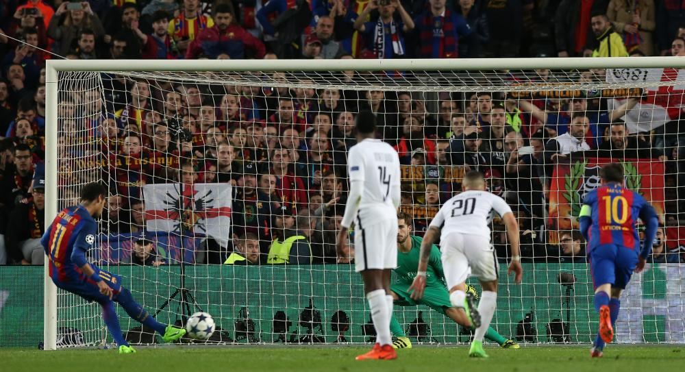 Neymar scores their fifth from the penalty spot.