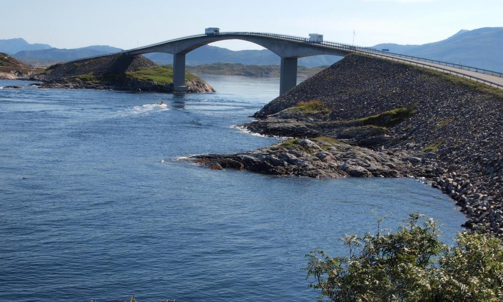 Bridge over a river on Atlantic Ocean Road, on the Atlantic route, part of Norway's National Tourist Routes.