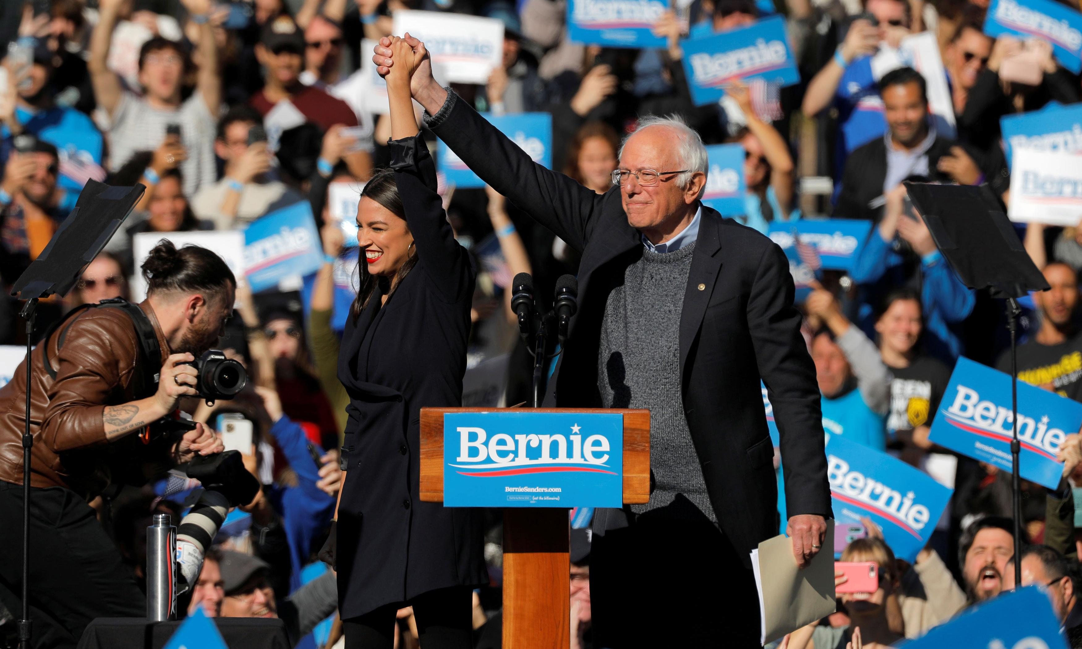 Ocasio-Cortez joins Bernie Sanders for comeback rally in New York
