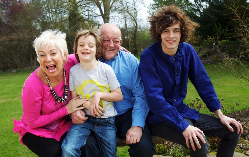 Matt Healy of band the 1975 (on right) with parents Denise Welch and Tim Healy, and brother Louis in 2010