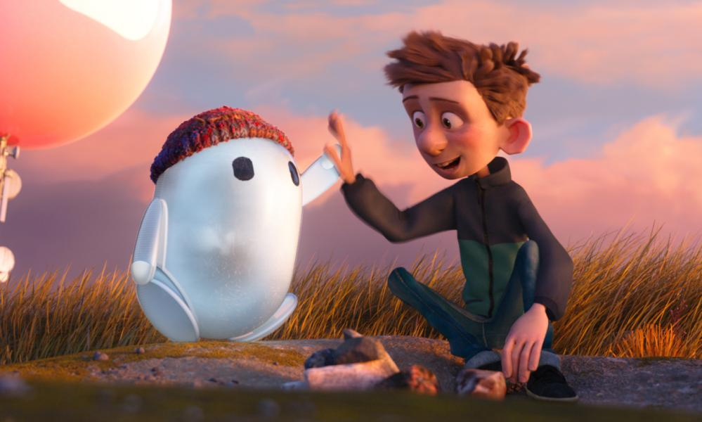 High five … Ron (voiced by Zach Galifianakis) and Barney (Jack Dylan Grazer)