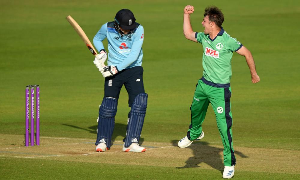 Ireland's bowler Curtis Campher celebrates taking the wicket of England's batsman Tom Banton.