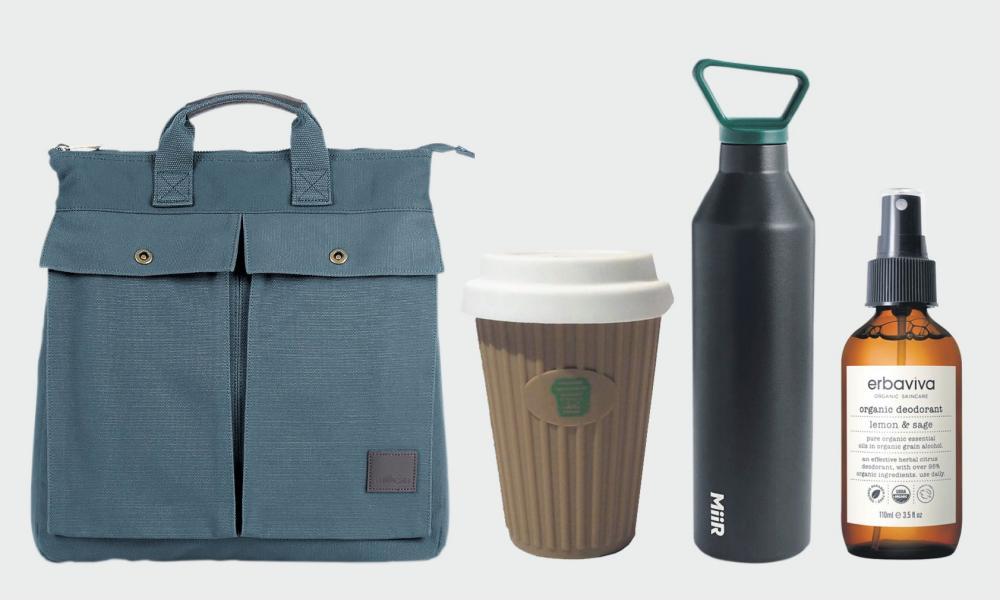 Slip this Miir water bottle (£28, Miir from jcrew.com) and Onya coffee cup (£9.95, onyabags.co.uk) – both ethically made – into Millican's canvas carryall (£150, homeofmillican.com) – don't forget Erbaviva's organic deodorant (£12, erbaviva.com) to keep your eco-cool.