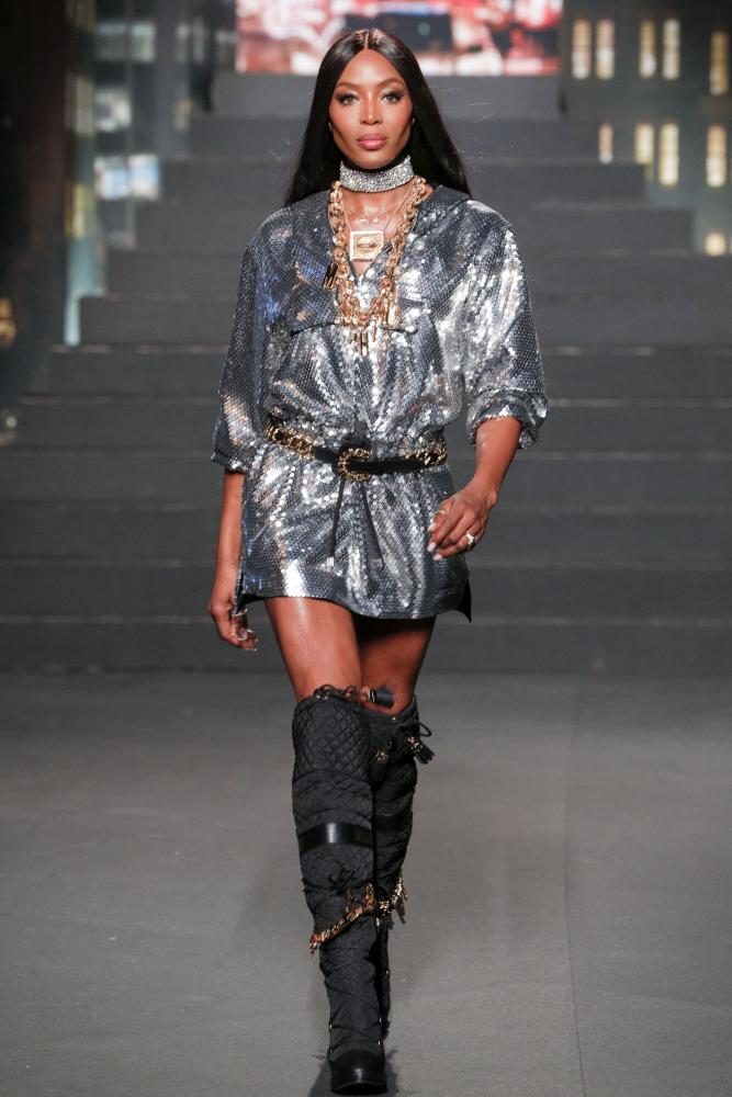 Naomi Campbell on the catwalk at the show.