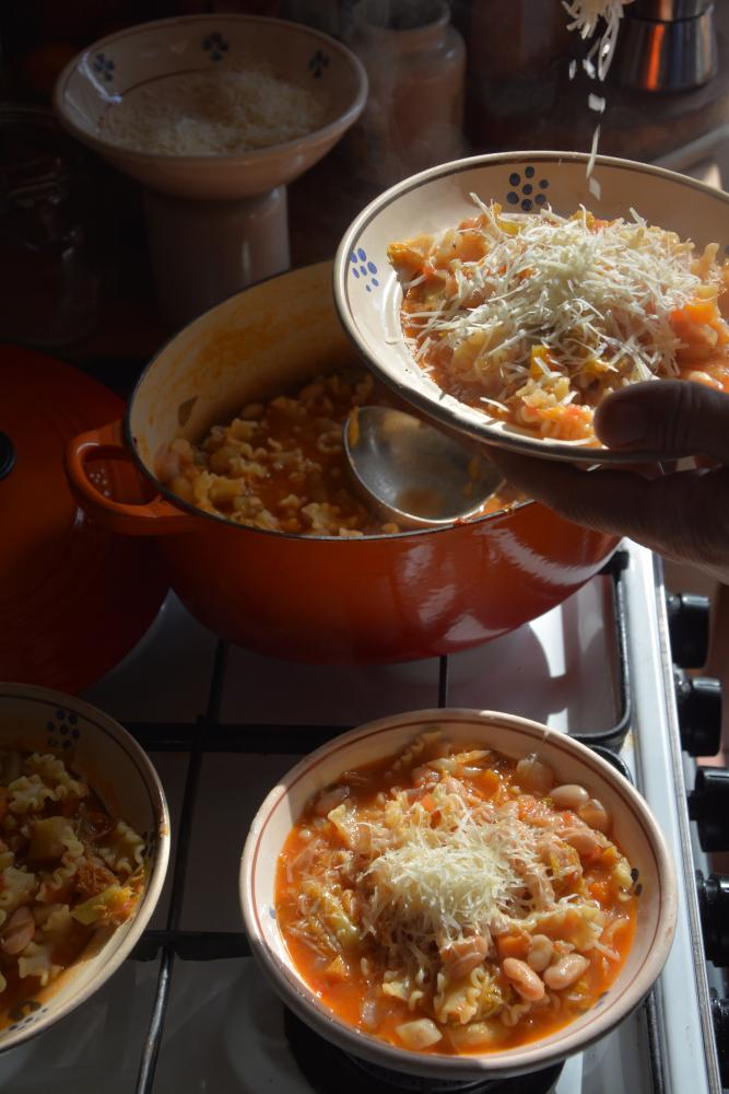 minestrone with pasta and cheese