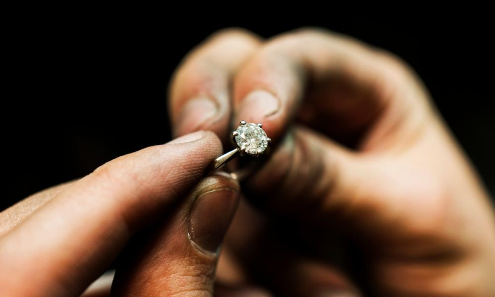 Inside the workshop of 77 Diamonds, London. A newly set diamond ring Photograph by Felix Clay