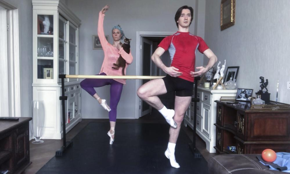 Russian Bolshoi Ballet principal dancers Maria Alexandrova and Vladislav Lantratov attend an online training with their ballet partners at home in Moscow.