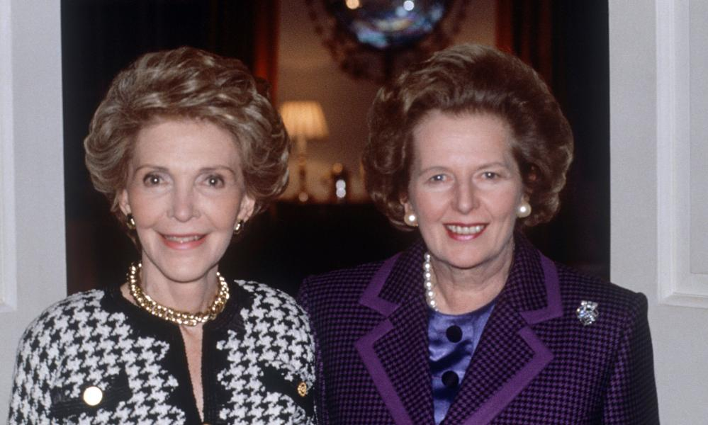 Margaret Thatcher with Nancy Regan, 1989.