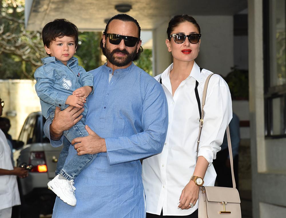 Kapoor Khan with her husband, Saif Ali Khan, and their elder son, Taimur in 2018.