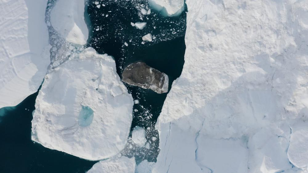 A aerial view of sea ice in Greenland.