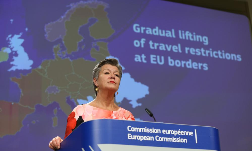 EU commissioner Ylva Johansson speaks about the gradual lifting of restrictions at borders at a press conference on Thursday