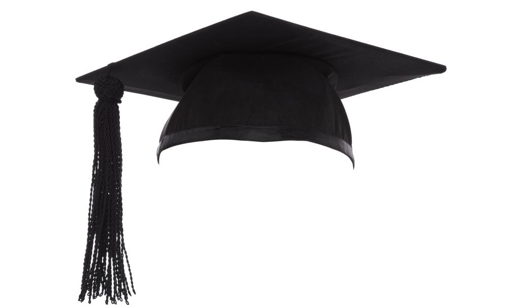 Mortar Board or Graduation Cap isolated on a white background.<br>D58PYT Mortar Board or Graduation Cap isolated on a white background.