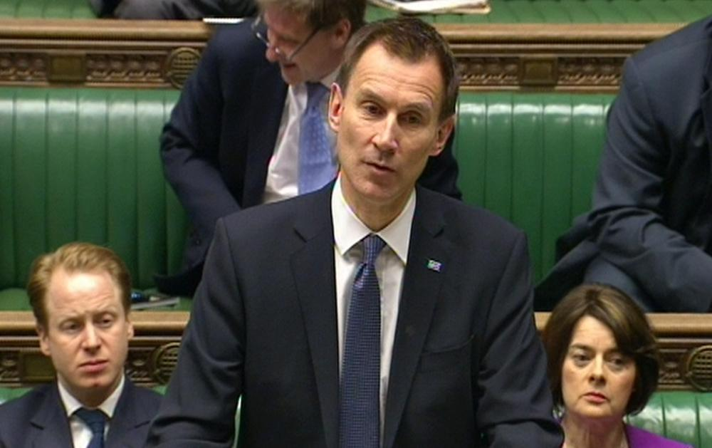 Health Secretary Jeremy Hunt delivers a statement to the House of Commons