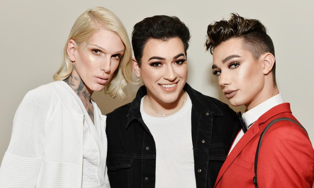 All made up: Jeffree Star, Manny Gutierrez and James Charles in Los Angeles.