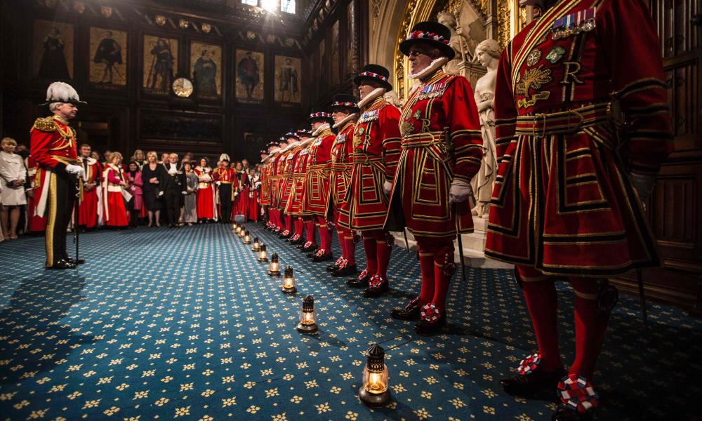 """Yeoman warders take part in a traditional """"Ceremonial Search"""" in the Houses of Parliament during the State Opening of Parliament."""