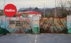 Lanark Way peace gates closed dividing the nationalist Catholic Springfield Road from the Protestant Shankill Road